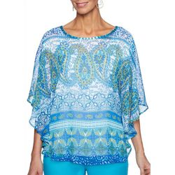 Ruby Road Favorites Petite Embellished Paisley Floral Top