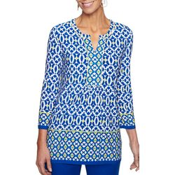 Ruby Road Favorites Petite Abstract Border Print Top