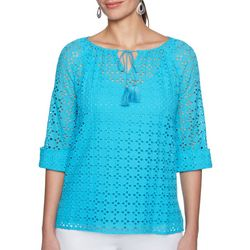 Ruby Road Favorites Petite Open Knit Tassel Tie Top