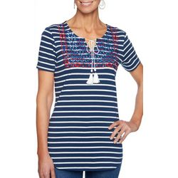 Ruby Road Favorites Petite Embroidered Stripe Tassel Top