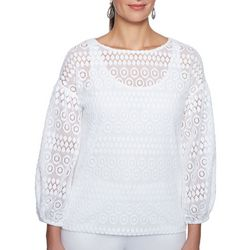 Ruby Road Favorites Petite Mesh Lace Woven Top