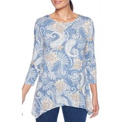 Ruby Road Favorites Petite Paisley Print Sharkbite Hem Top