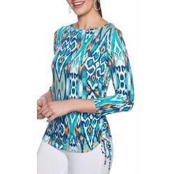 Ruby Road Favorites Petite Abstract Print Ruched Side Top