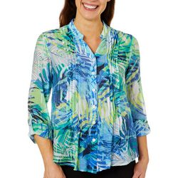 Ruby Road Favorites Petite Tropical Palm Pleated Top