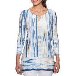 Ruby Road Favorites Petite Beaded Keyhole Ikat Tunic Top