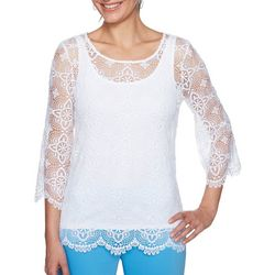 Ruby Road Favorites Petite Lace Overlay Top