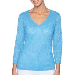Ruby Road Favorites Petite Paisley Lace Surplice Top