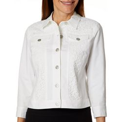 Ruby Road Favorites Petite Make Me Blush Lace Detail Jacket