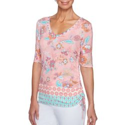 Ruby Road Favorites Petite Ruched Floral Print Top