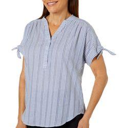 Ruby Road Favorites Petite Striped Tie Sleeve Top