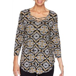 Ruby Road Favorites Petite Mixed Animal Print Top