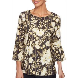 Ruby Road Favorites Petite Striped Floral Embellished Top