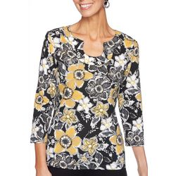 Ruby Road Favorites Petite Floral Print Horseshoe Neck Top