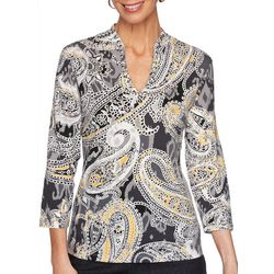 Ruby Road Favorites Petite Paisley Print Funnel Neck Top