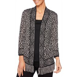 Ruby Road Favorites Petite Animal Print Open Front Cardigan