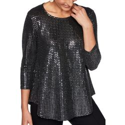 Ruby Road Favorites Petite Foil Sequin Top