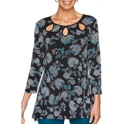 Ruby Road Favorites Petite Floral Puff Print Top
