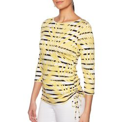 Ruby Road Favorites Petite Palm Printed Striped Ruched Top