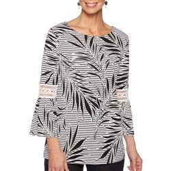 Ruby Road Favorites Petite Palm Leaf Stripe Bell Sleeve Top