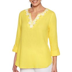 Ruby Road Favorites Petite Embroidered Gauze Tunic Top