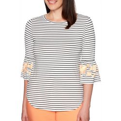 Ruby Road Favorites Petite Striped Floral Bell Sleeve Top