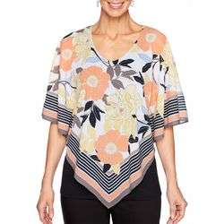 Ruby Road Favorites Petite Floral Striped Poncho Top