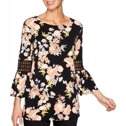 Ruby Road Favorites Petite Floral Crochet Bell Sleeve Top