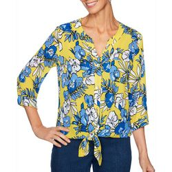 Ruby Road Favorites Petite Tropical Floral Tie Front Top