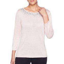 Ruby Road Favorites Petite Embellished Metallic Sweater