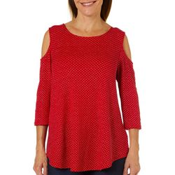 Ruby Road Favorites Petite Embellished Cold Shoulder Top