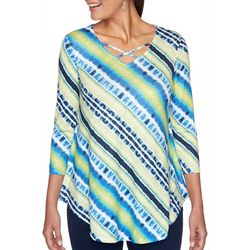 Ruby Road Favorites Petite Tie Dye Stripe Crisscross Top