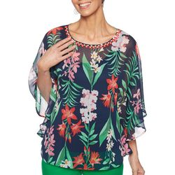 Ruby Road Favorites Womens Tropical Floral Poncho Top