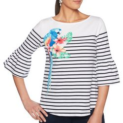 Ruby Road Favorites Petite Striped Parrot Bell Sleeve Top
