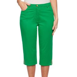 Ruby Road Favorites Petite Solid Jeweled Hem Capris
