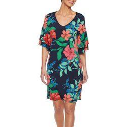 Ruby Road Favorites Petite Tropical Ruffle Sleeve Dress