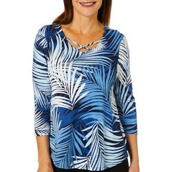 Ruby Road Favorites Petite Palm Print Crisscross Neck Top