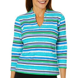Ruby Road Favorites Petite Striped Grommet Funnel Neck Top