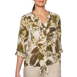 Ruby Road Favorites Petite Tropical Print Tie Front Top