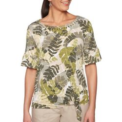 Ruby Road Favorites Petite Tropical Palm Print Side Tie Top