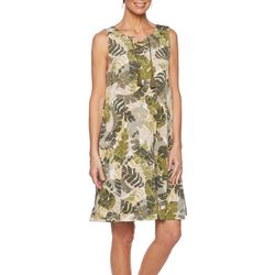 Ruby Road Favorites Petite Palm Leaf Print Shift