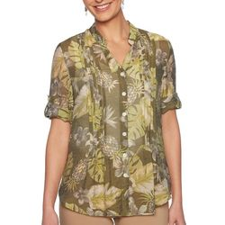 Ruby Road Favorites Petite Tropical Leaf Gauze Top