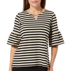 Ruby Road Favorites Petite Striped Bell Sleeve Keyhole Top