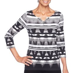 Ruby Road Favorites Petite Striped Chevron Jewel Neck Top