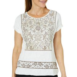 Ruby Road Favorites Petite Embellished Floral Puff Print Top