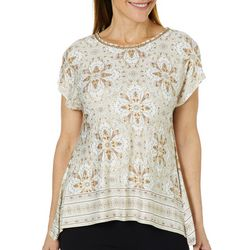 Ruby Road Favorites Petite Floral Embellished Jewel Top