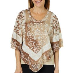 Ruby Road Favorites Petite Woven Border Floral Poncho Top