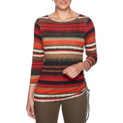 Ruby Road Favorites Petite Striped Ruched Top