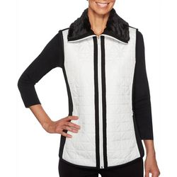 Ruby Road Favorites Petite Quilted Faux Fur Trim Vest