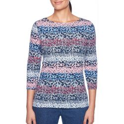 Ruby Road Favorites Petite Embellished Abstract Print Top