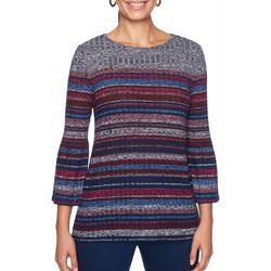 Ruby Road Favorites Petite Stripe Flounce Sleeve Sweater